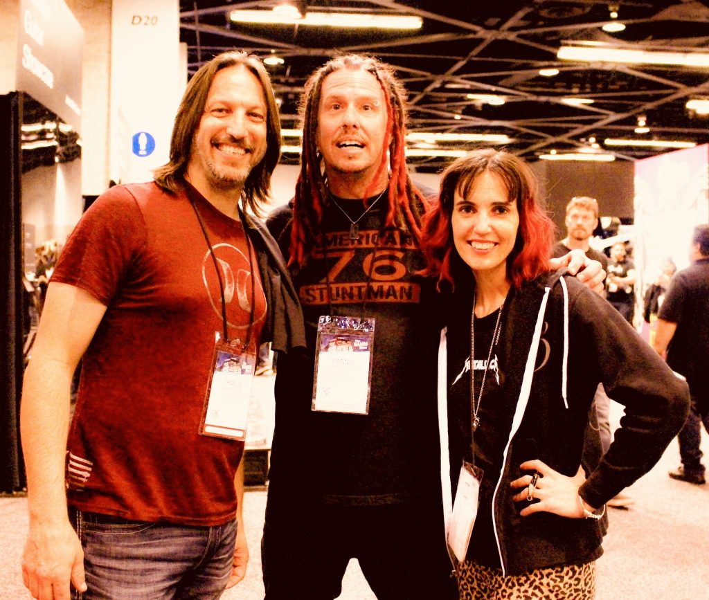 Alexx Calise, Charlie Waymire and Dennis Morehouse at the 2019 NAMM Show at Anaheim Convention Center